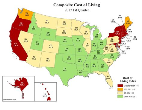 Cost Of Living By State Map | cost of living first quarter 2017
