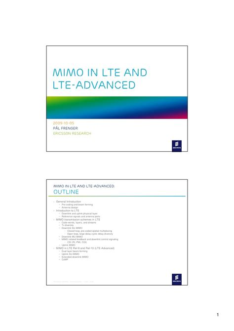 lte tutorial powerpoint mimo in lte and lte advanced