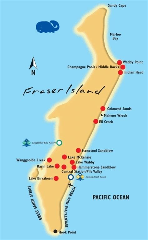 printable map hervey bay fraser island interactive map kingfisher bay resort