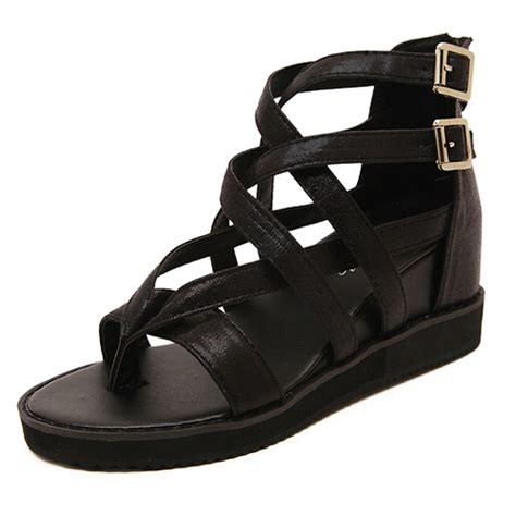 inexpensive gladiator sandals cheap fashion high wedge black pu gladiator sandals