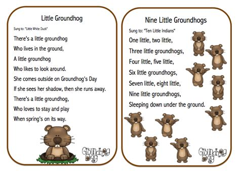 groundhog day poem preschool printables groundhog day songs poems and