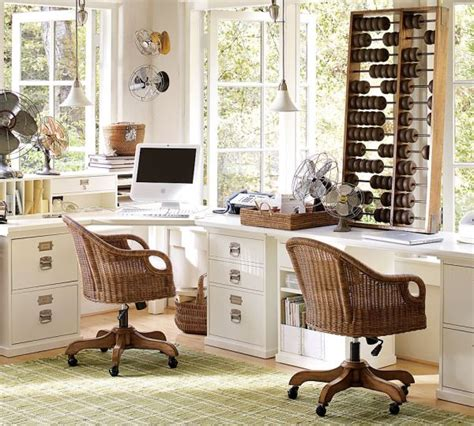 pottery barn home office furniture rattan swivel desk chair