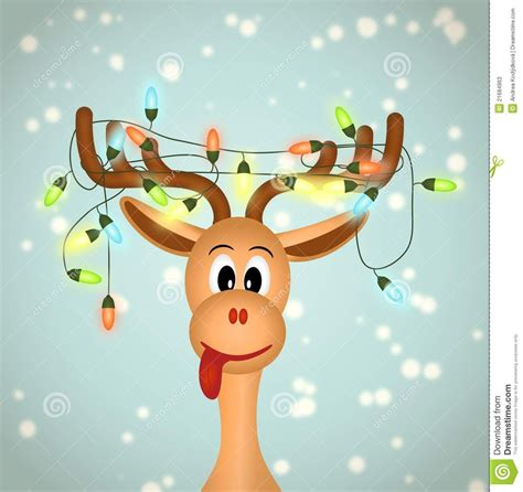 funny christmas treelights with deer reindeer painting reindeer with lights tangled in antlers illustration