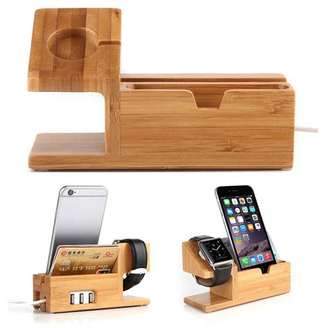 moreslan bamboo phone charging stand wood desktop cord organizer bamboo wood charging dock charger stand holder for apple