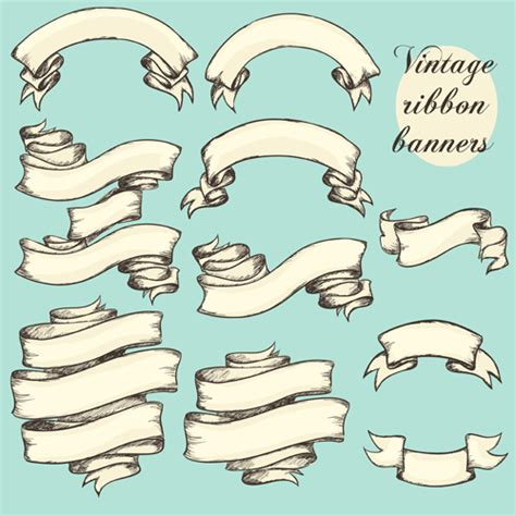 vector vintage ribbon banners design 02 ink pinterest