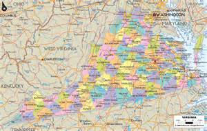 Map Virginia by Political Map Of Virginia Ezilon Maps