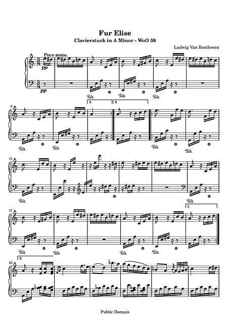 Für Elise Original version - Piano - Partituras