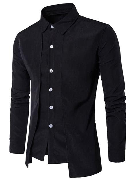Mens Planel Shirt L S Contempo sleeve faux twinset panel design shirt black l in
