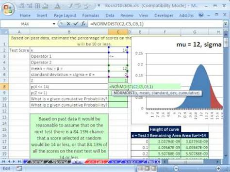 Statistics In Excel Excel Statistics 69 1 Normal Probability Excel Functions