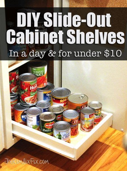 kitchen cabinet slide out shelves diy drawer dividers with organize your pantry with diy slide out cabinet shelves
