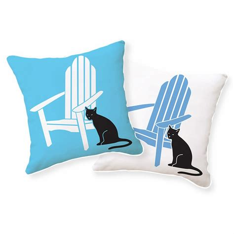 Adirondack Chair Pillow by Adirondack Chair With Black Cat Reversible Throw Pillow