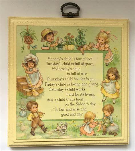 More On Monday One By Child by Monday S Child Nursery Rhyme Wall Hanging Plaque Vintage