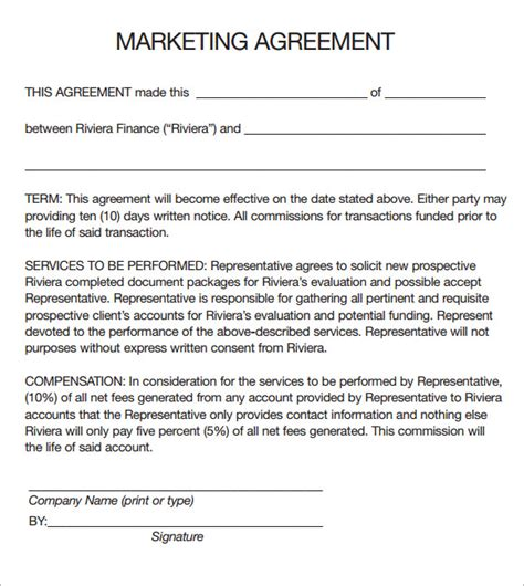 marketing agreement template sle marketing agreement templates