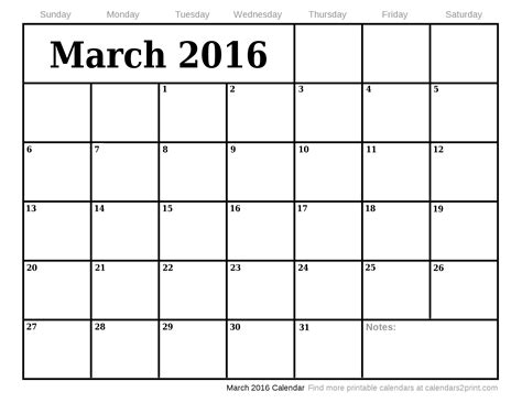 printable planner for march 2016 march 2016 printable calendar