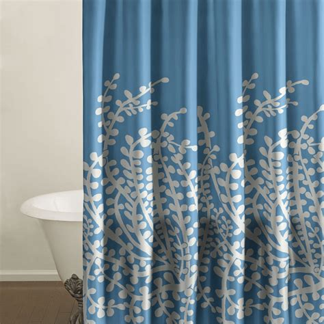 blue shower curtains city scene branches french blue shower curtain from