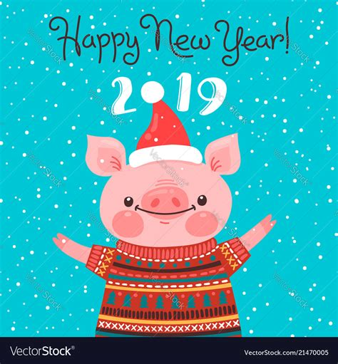 happy   year card funny piglet royalty  vector