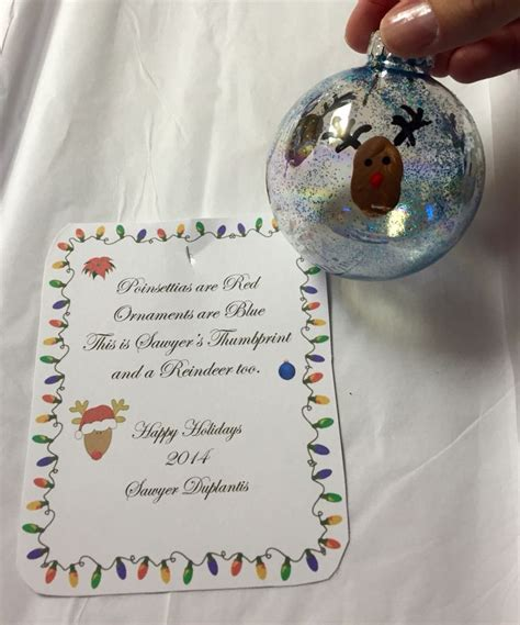 reindeer thumbprint ornaments  poem  teachers