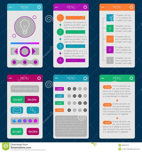 Set Of Templates Mobile Interface Flat Ui Ux Can Be Used In M Stock Vector Illustration Of Ux Website Templates