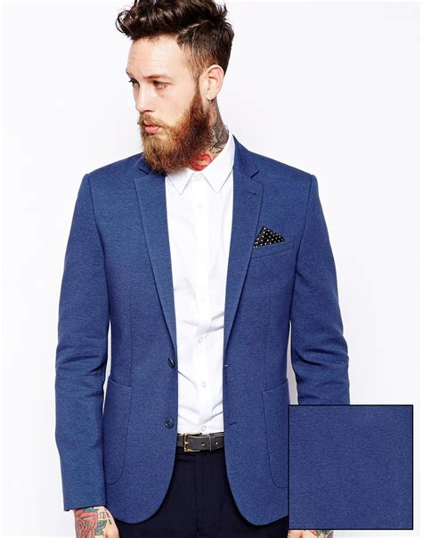 Blue Turqish Blazer T1310 1 lyst asos slim fit blazer in jersey in blue for