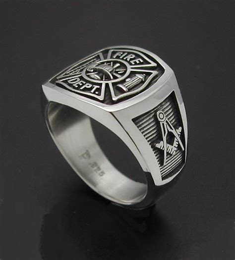 masonic fireman ring in sterling silver style 023m