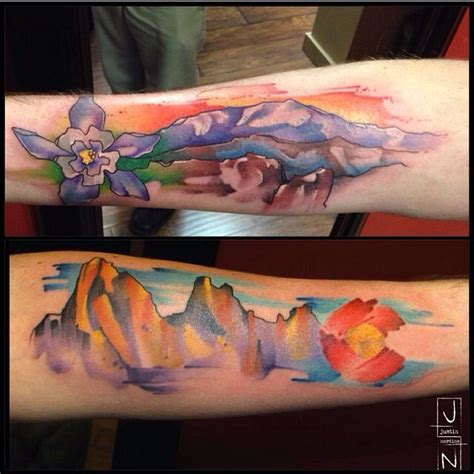 colorado mountains tattoo watercolor by justin nordine