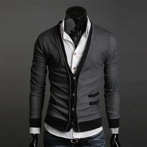 Cardigan Pria Cotton Kualitas Premium mens casual cotton premium stylish v neck sweater tops cardigan button ebay