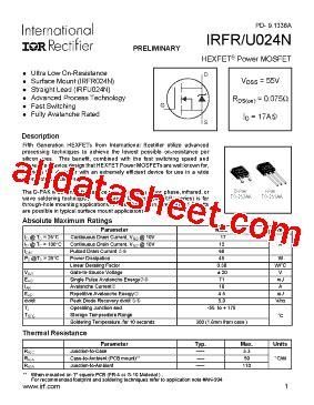 Transistor Irfz24n irfr024n datasheet pdf international rectifier
