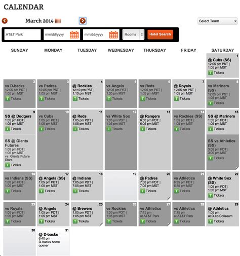 san francisco giants 2014 schedule giants home and away