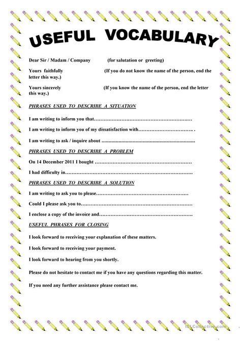 writing  complaint letter worksheet  esl printable