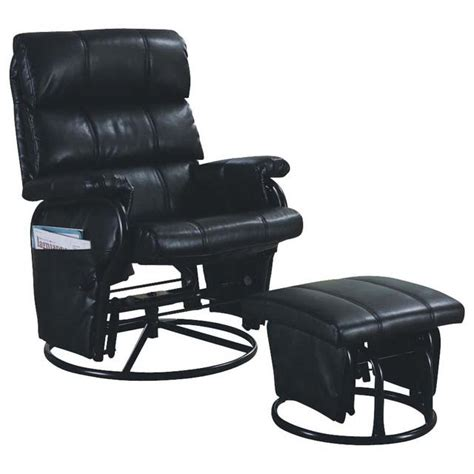 Leather Glider Rocker Recliner Chair With Ottoman Monarch Specialties I7278 Leather Look Swivel Rocker