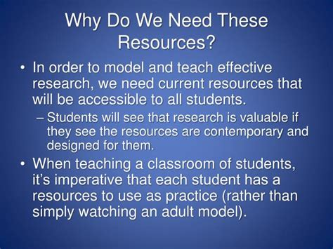 why do students need to ppt increasing research resources for elementary students powerpoint presentation id