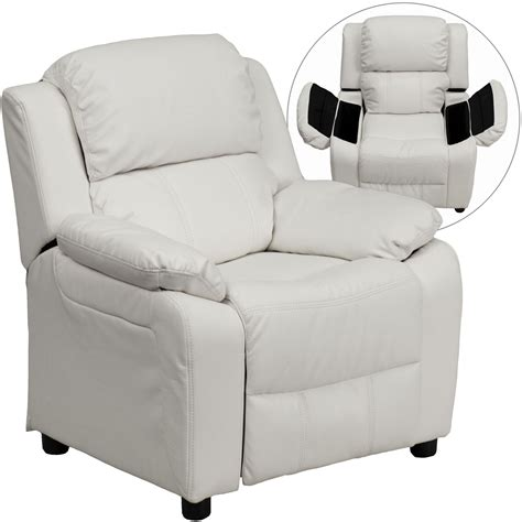 Recliner With Storage by Deluxe Heavily Padded White Vinyl Storage Arm