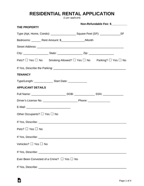 Free Rental Application Forms Pdf Word Eforms Free Fillable Forms House Rental Application Template
