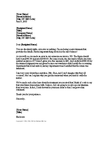 Apology Letter Error In Billing Letter Apologizing For Billing Errors For Microsoft Sle Access