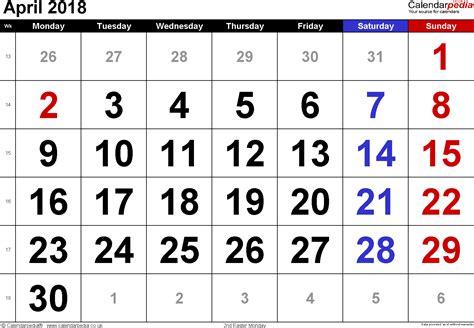 Calendar 2018 Large Calendar April 2018 Uk Bank Holidays Excel Pdf Word