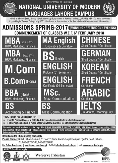 Iba Lahore Mba Admission 2017 by Admission Open In National Of Modern Languages