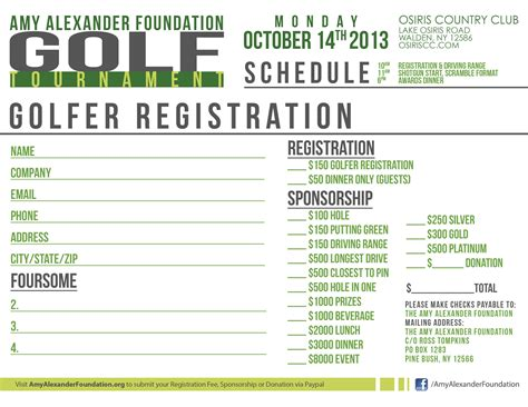 golf registration form template the foundation 15th annual golf tournament