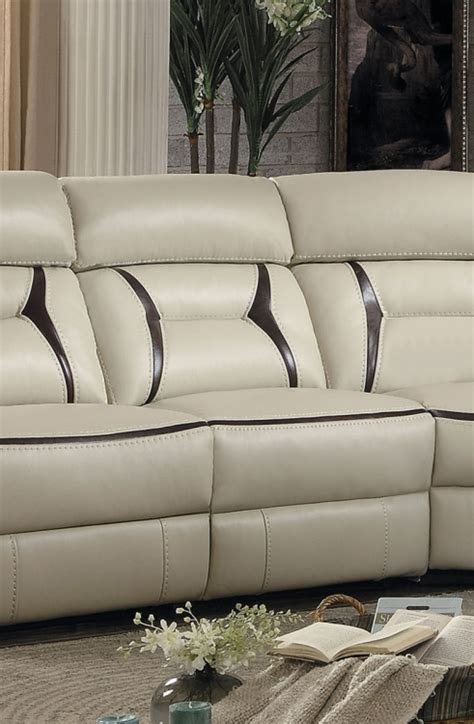 Amite Furniture by Homelegance Amite Power Reclining Sectional Set Beige Leather Gel Match 8229 Sectional Set