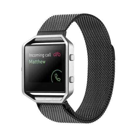 Milanese Stainless Steel Magnetic For Fitbit Charg 95koou Black magnetic stainless steel milanese loop wrist band