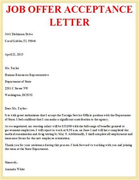 Offer Letter Reply Sle Offer Acceptance Letter Letter