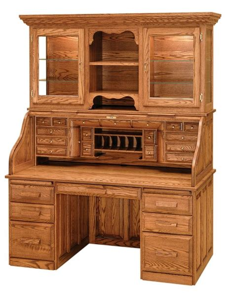 Luxury Amish Rolltop Desk Hutch Office Furniture Solid Solid Office Furniture