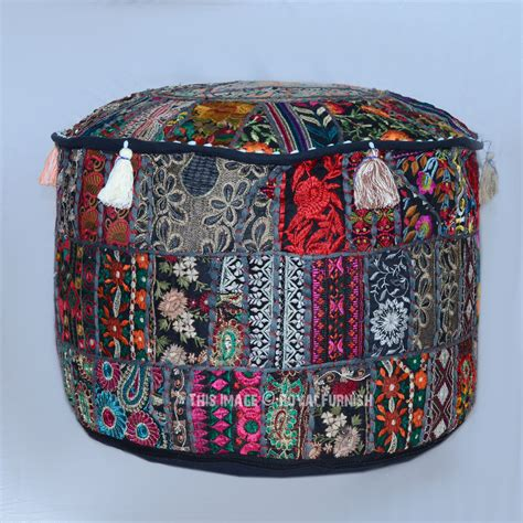indian pouf ottoman 22 quot black big foot stool bohemian patchwork round indian