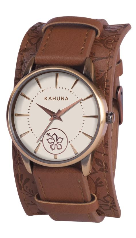 kahuna womens brown leather cuff wrist