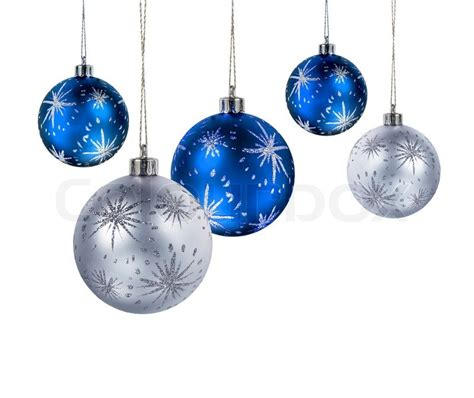 blue and silver christmas balls hanging isolated on white