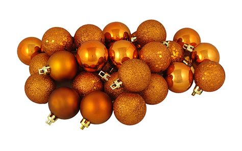 96ct burnt orange shatterproof 4 finish christmas ball