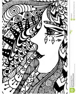 pattern coloring book ethnic woman retro doodle tribal design element black white