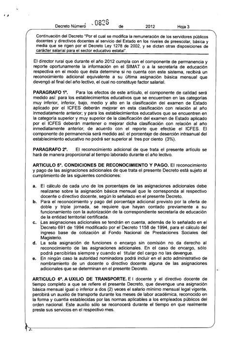 decreto salario del decreto 1278 decreto de salarios 2012 del 1278
