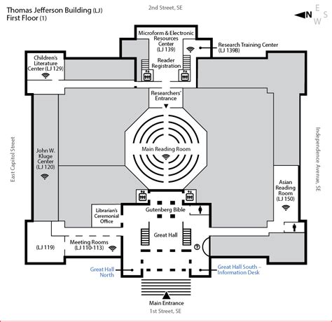layout of congress building jefferson building first floor library of congress