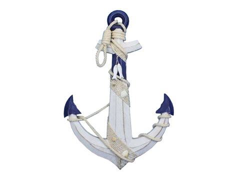 Anchor Decor by Wooden Blue White Anchor W Rope And Shells 24 Quot Wooden