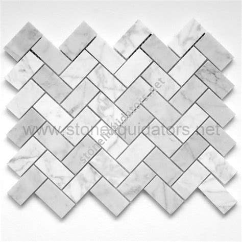 1 quot x 2 quot bianco white carrara marble herringbone mosaic polished
